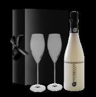 Black & Bianco Prosecco(in Geschenkverpakking Met 2 Glazen)